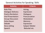 general activities for speaking skills
