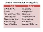 general activities for writing skills