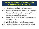 using measures to improve the board results in 2014 15