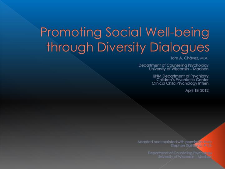 promoting social well being through diversity dialogues n.