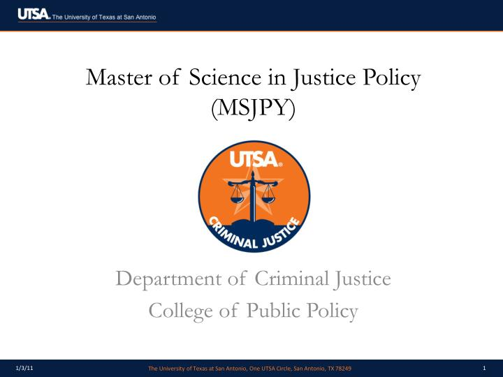 master of science in justice policy msjpy n.