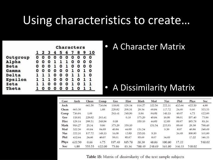 Using characteristics to create…
