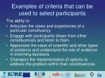 examples of criteria that can be used to select participants