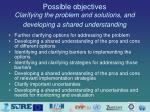possible objectives clarifying the problem and solutions and developing a shared understanding