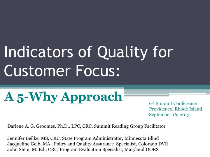 indicators of quality for customer focus n.