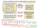 classical black hole evaporation conjecture