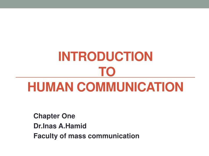 introduction to human communication n.