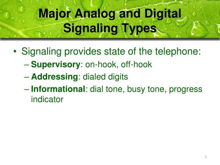 Major Analog and Digital Signaling Types