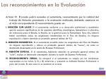 los reconocimientos en la evaluaci n
