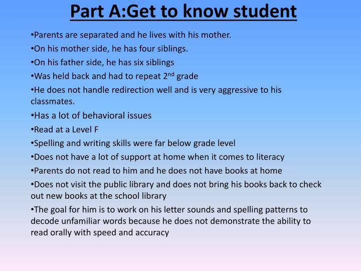 part a get to know student n.