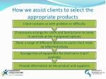 how we assist clients to select the appropriate products