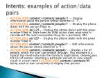 intents ex amples of action data pairs
