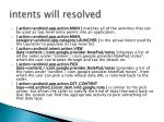 intents will resolved