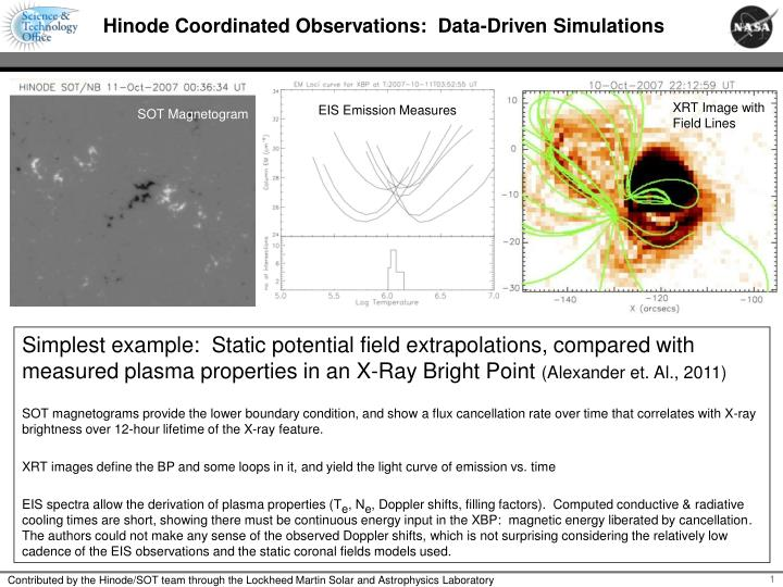 hinode coordinated observations data driven simulations n.
