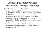 collecting quantitative data probability sampling next step