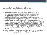unlawful unilateral change