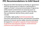 ppc recommendations to gavi board