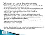 critiques of local development