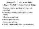asignaci n 1 min to get info hoy es martes el 21 de febrero 2012