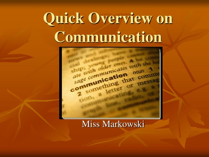 quick overview on communication n.