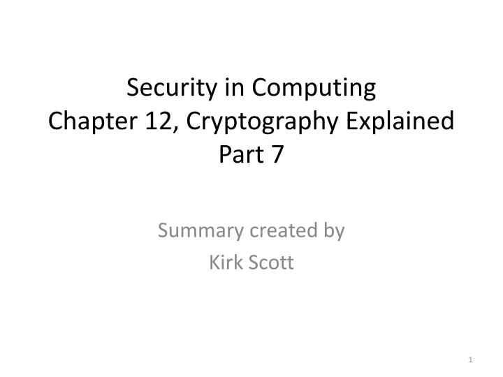 security in computing chapter 12 cryptography explained part 7 n.