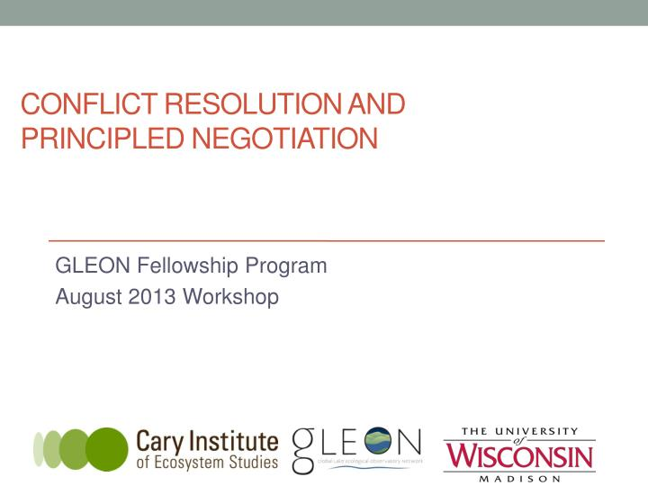 conflict resolution and principled negotiation n.