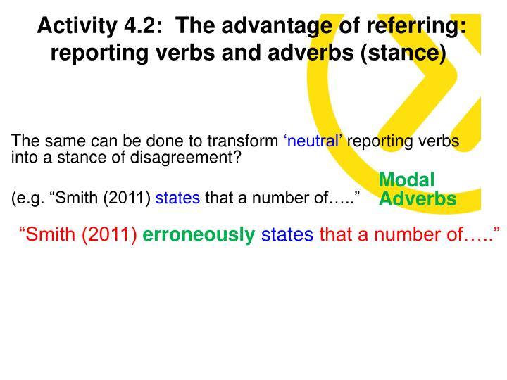 Activity 4.2:  The advantage of referring: reporting verbs and adverbs (stance)