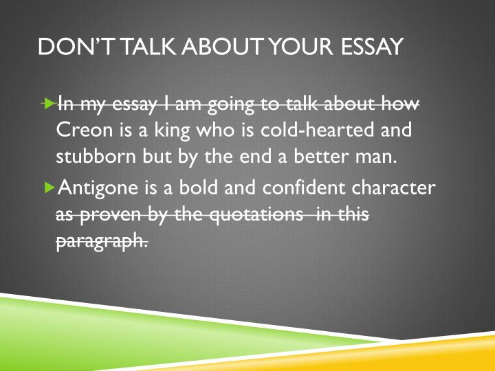 1st period creon essay The importance of family for ancient greeks essay also the niece of creon late dark age and early archaic period the first three chapters of finley's.