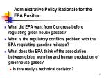 administrative policy rationale for the epa position