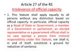 article 27 of the rs irrelevance of official capacity