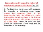 c ooperation with respect to waiver of immunity and consent to surrender art 98