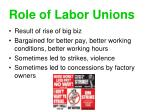 role of labor unions