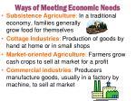 ways of meeting economic needs
