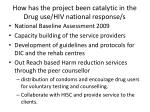 how has the project been catalytic in the drug use hiv national response s