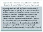 applies 10 theories 24 studies in multi family groups which parents can lead