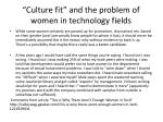 culture fit and the problem of women in technology fields