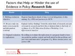 factors that help or hinder the use of evidence in policy research side2
