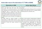action taken note on the observation of 5 th jrm on mdms