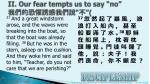 ii our fear tempts us to say no