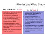 phonics and word study