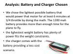 analysis battery and charger chosen
