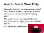 analysis camera mount design