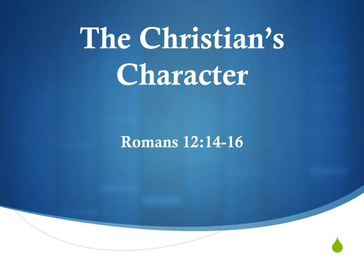 the christian s character n.