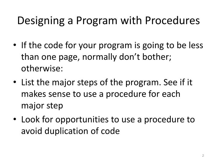 Designing a program with procedures