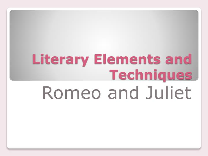 literary elements and techniques n.