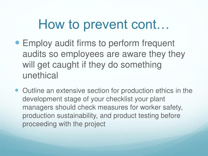 How to prevent cont…
