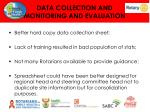 data collection and monitoring and evaluation