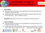 department of health gauteng province update