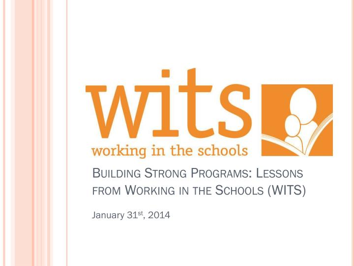 building strong programs lessons from working in the schools wits n.