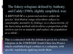 the fishery refugium defined by anthony and caddy 1980 slightly simplified was